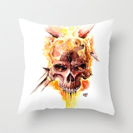 Ghost Rider Skull Throw Pillow