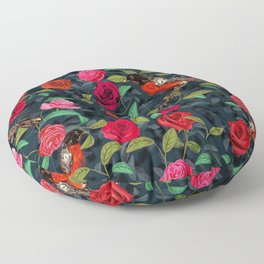 Roses and Robins Floor Pillow