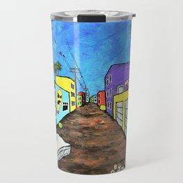 Los Angeles Alley (Original Acrylic Painting) by Mike Kraus - LA art street graffiti california Travel Mug