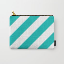 Tiffany blue diagonal striped pattern Carry-All Pouch