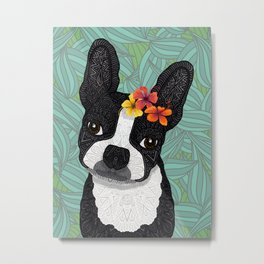 Tropical Boston Terrier Girl Metal Print