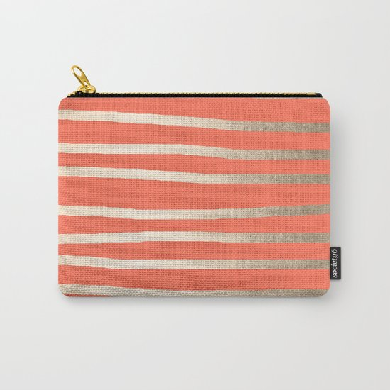 Simply Drawn Stripes in White Gold Sands on Deep Coral Carry-All Pouch