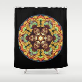 Metta Mandala Black Shower Curtain