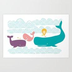 Whimsical whales Art Print