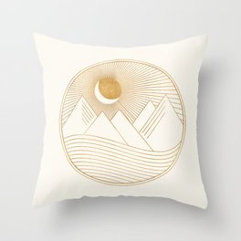 Golden Sunset Landscape with Mountains Throw Pillow