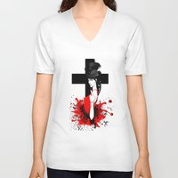 religion V-neck T-shirts featuring BAD RELIGION by Anna d'Ark