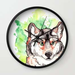 Mexican Gray Wolf Bust Wall Clock