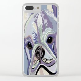 French Bulldog Denim Colors Clear iPhone Case