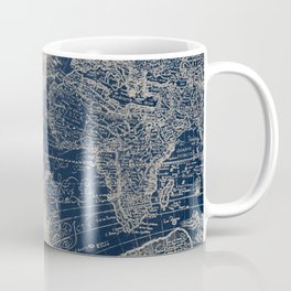 Antique World Map Gold Navy Blue Library Coffee Mug