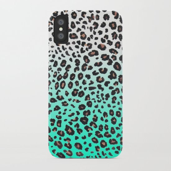 TEAL LEOPARD iPhone Case