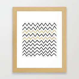 Writing Exercise- Simple Zig Zag Pattern - Black on White Gold - Mix & Match Framed Art Print