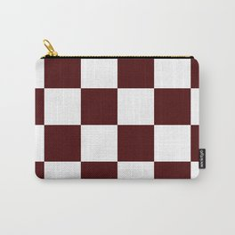 Large Checkered - White and Bulgarian Rose Red Carry-All Pouch