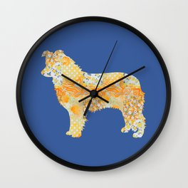 Border Collie Vintage Floral Pattern Orange Blue Yellow White Wall Clock