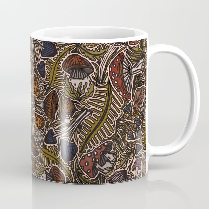 Funghi & Fern Forest, Fall Colors , Foraging for Woodland Mushrooms Brown, Orange Purple Coffee Mug