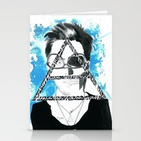 jared leto Stationery Cards featuring jared triangle leto by anxiety