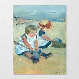 Mary Cassatt, Children Playing on the Beach Canvas Print