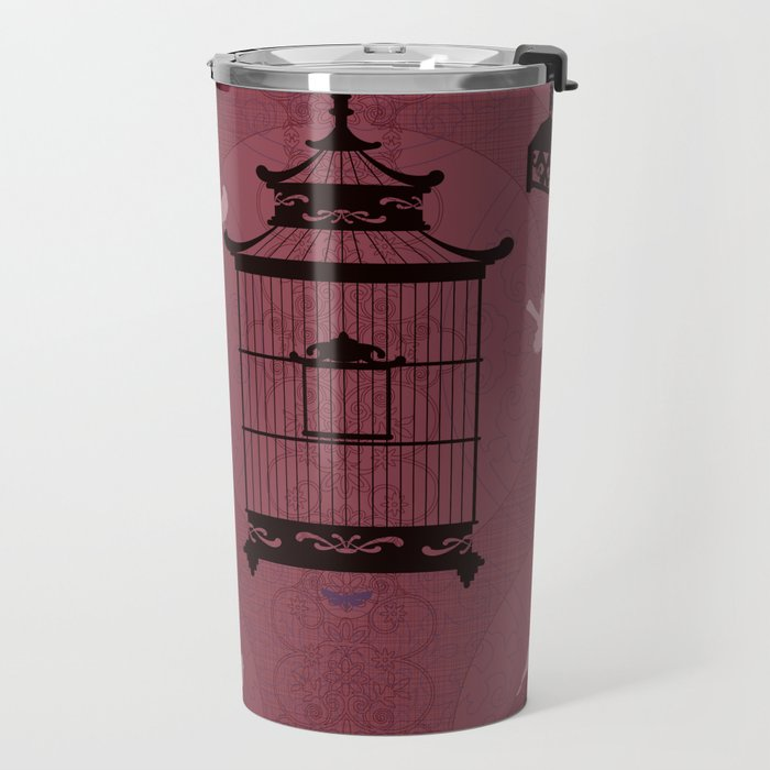 Rasberry Empty Brid Cages Travel Mug
