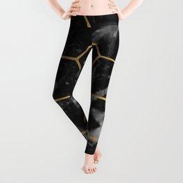 Golden deco black marble geo Leggings