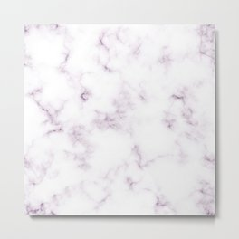 Modern White and Violet Marble Texture Metal Print