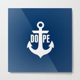 Nautical Anchor Cool Dope Navy Blue White Metal Print