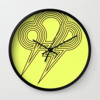lightning Wall Clocks featuring Lightning by Heiko Hoos