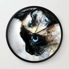 Siamese Cat Acrylic Painting Wall Clock