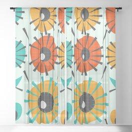 Prickly flowers Sheer Curtain