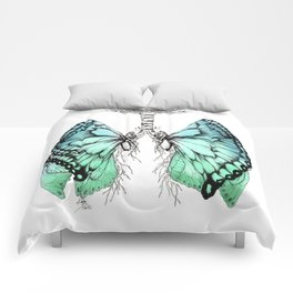 Butterfly Lungs Blue Green Comforters