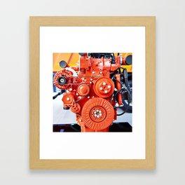 Red diesel engine for truck Framed Art Print