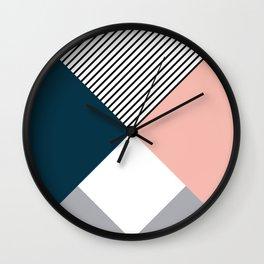 Rhombus, triangles and stripes Wall Clock