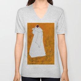 Ethnic Lady in Warm Colors Unisex V-Neck