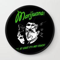 marijuana Wall Clocks featuring Marijuana is Good  by Spyck