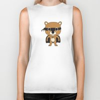 beaver Biker Tanks featuring Super Beaver by Ariseli Modica