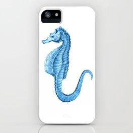Seahorse nautical blue watercolor iPhone Case