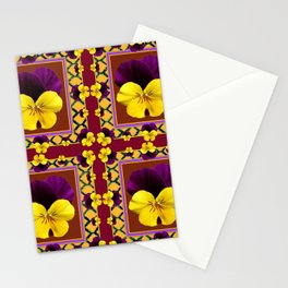 MAROON QUATREFOIL PURPLE & YELLOW SPRING PANSIES Stationery Cards