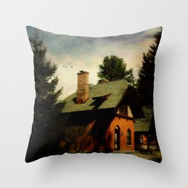 Cemetery Cottage Throw Pillow