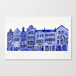 Row of Houses – Navy Palette Canvas Print