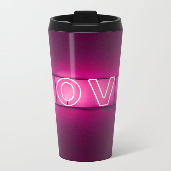 Love Neon Sign Metal Travel Mug