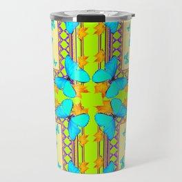 Southwestern  Lime & Turquoise Butterflies Gold Patterns Art Travel Mug