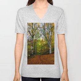 Autumn Trees Woodland Unisex V-Neck