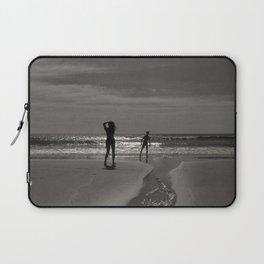 Beach black white light Laptop Sleeve