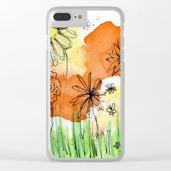 Flower Doodle 2 Clear iPhone Case