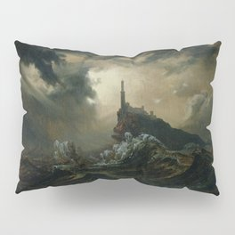 Carl Blechen - Stormy Sea with Lighthouse - German Romanticism - Oil Painting Pillow Sham