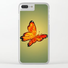 Orange Watercolor Butterfly Design Clear iPhone Case
