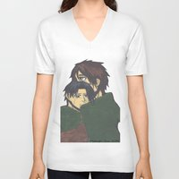 levi V-neck T-shirts featuring Eren x Levi by Midnight Zoe