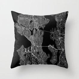 Seattle Black Map Throw Pillow