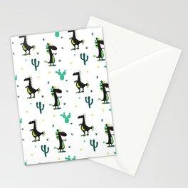 Cute Desert Dinosaurs (white) Stationery Cards