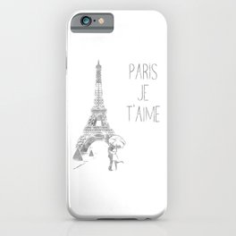 Paris Je T'aime (I Love You) T Shirt, Hand Drawn Sketch iPhone Case