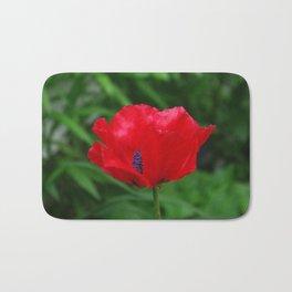 Red oriental poppy flower Bath Mat