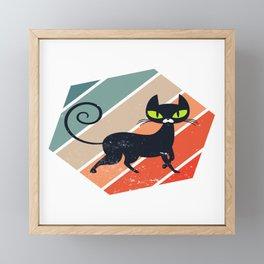 Retro Vintage Cute Feline Feral Meow Pet Animals Kitten Kittie Feline Claw Claws T-shirt Design Framed Mini Art Print